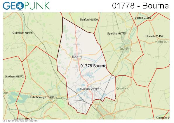 Map of the Bourne area code