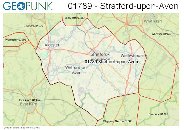 Map of the Stratford-upon-Avon area code
