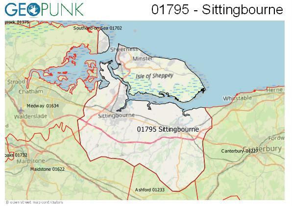Map of the Sittingbourne area code