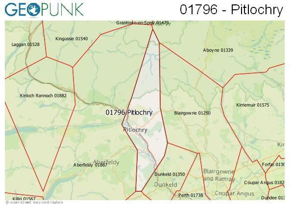 Map of the Pitlochry area code