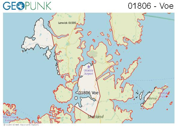 Map of the Shetland area code