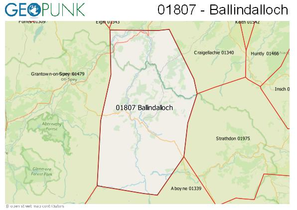 Map of the Ballindalloch area code