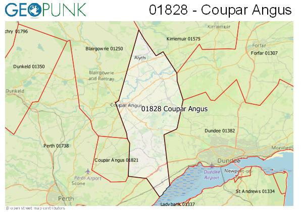 Map of the Coupar Angus area code