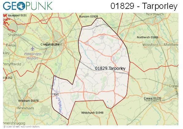 Map of the Tarporley area code