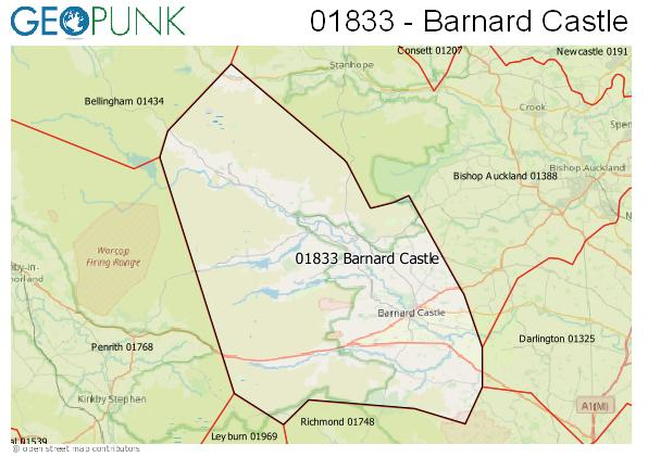 Map of the Barnard Castle area code