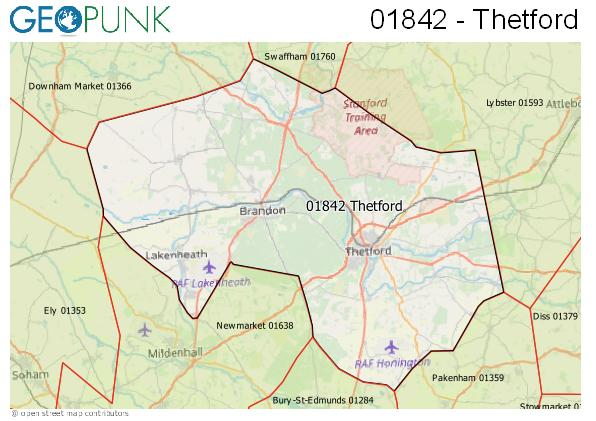 Map of the Thetford area code
