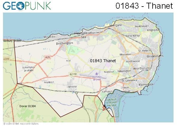 Map of the Thanet area code