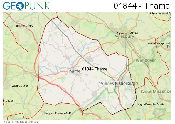 Map of the Thame area code
