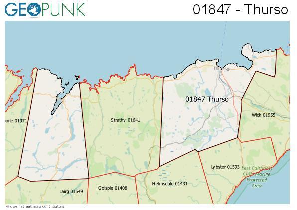 Map of the Thurso, Tongue area code