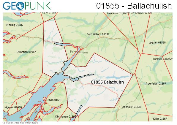 Map of the Ballachulish area code