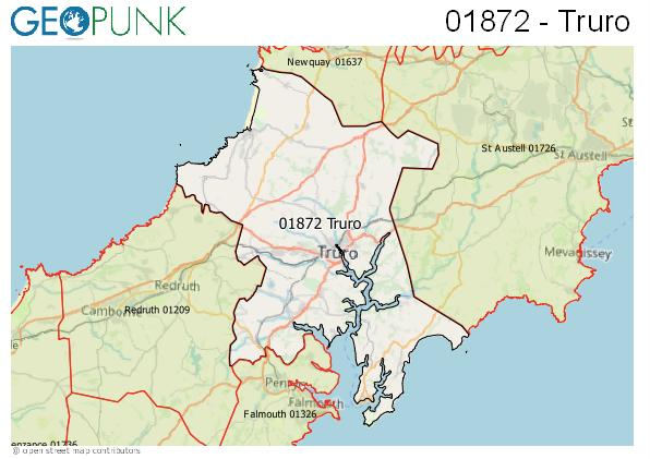 Map of the Truro area code