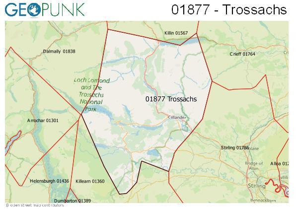 Map of the Callandar area code