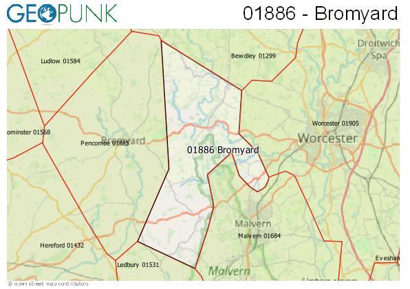 Map of the Bromyard area code