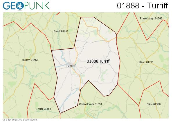 Map of the Turriff area code