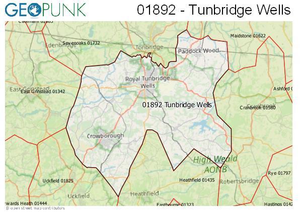 Map of the Tunbridge Wells area code