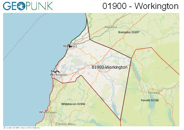 Map of the Workington area code