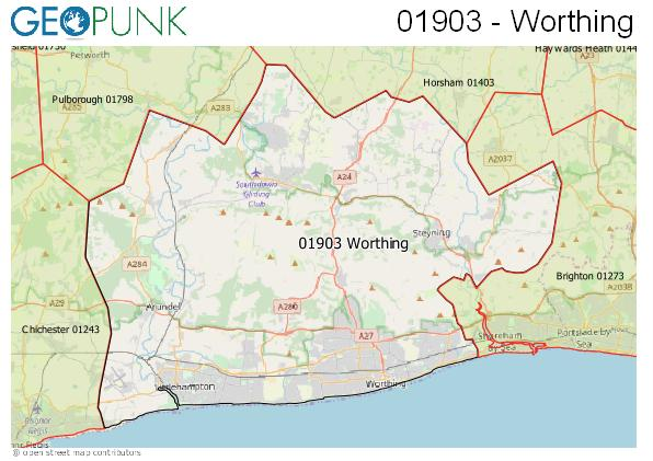 Map of the Worthing area code