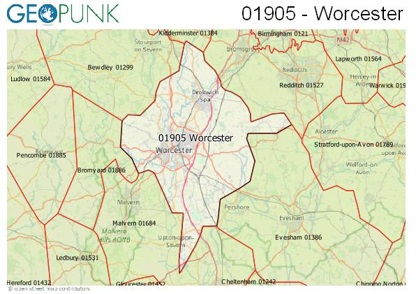 Map of the Worcester area code