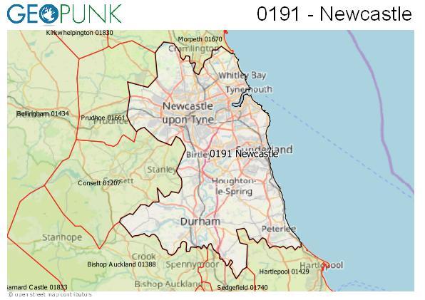 Map of the Newcastle upon Tyne, Durham, Sunderland area code
