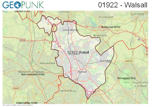 Map of the Walsall area code