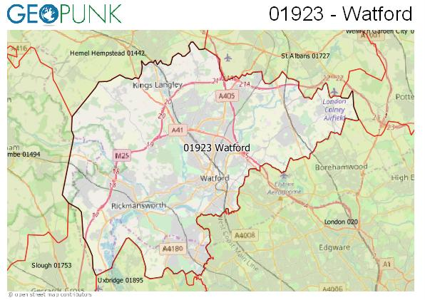 Map of the Watford area code