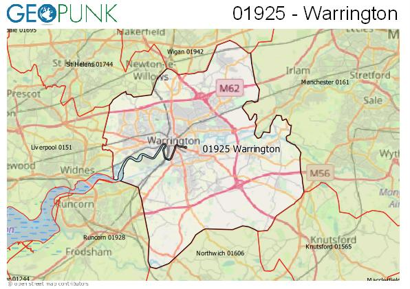 Map of the Warrington area code