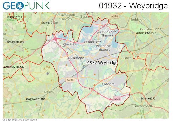 Map of the Weybridge area code