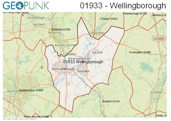 Map of the Wellingborough area code