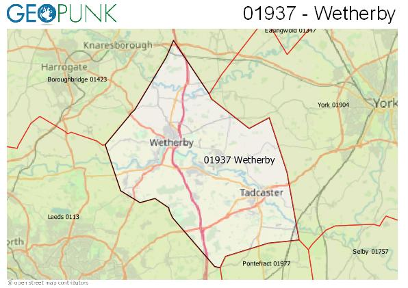 Map of the Wetherby area code