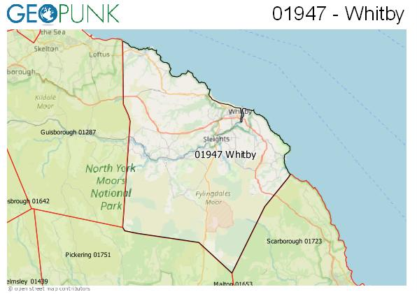 Map of the Whitby area code