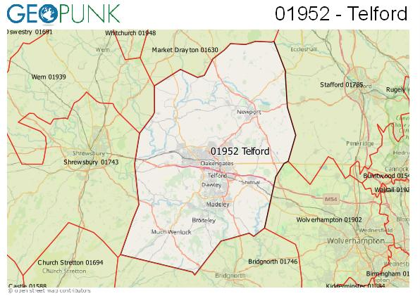 Map of the Telford area code