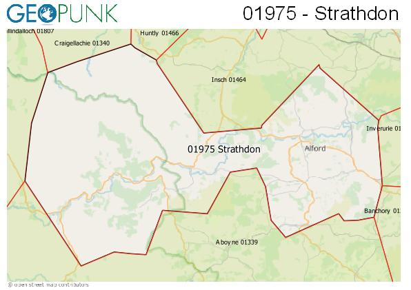 Map of the Alford (Aberdeen), Strathdon area code