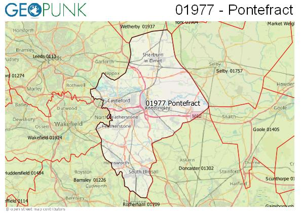 Map of the Pontefract area code