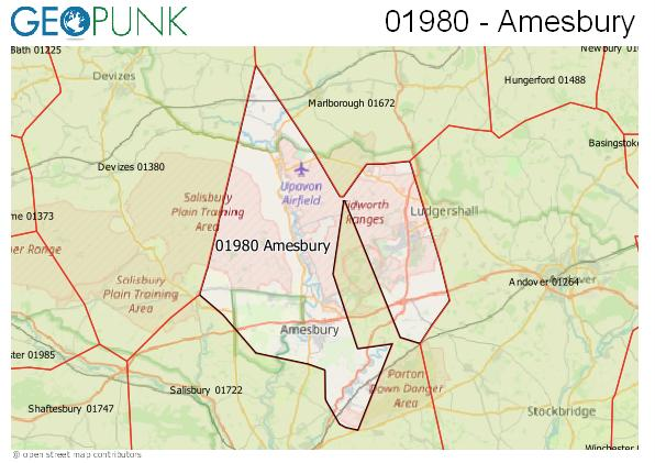 Map of the Amesbury area code