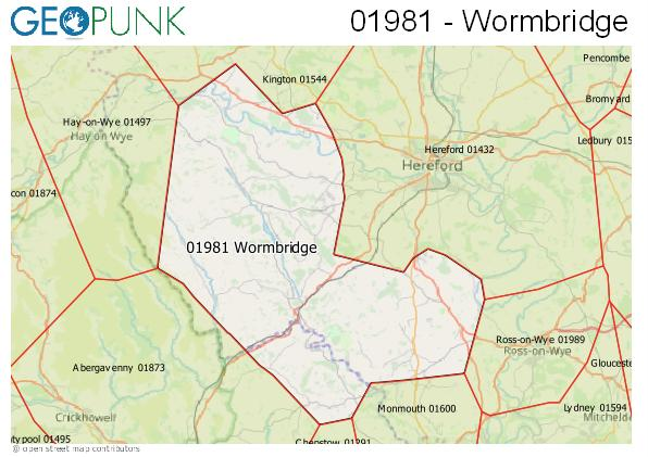 Map of the Wormbridge area code