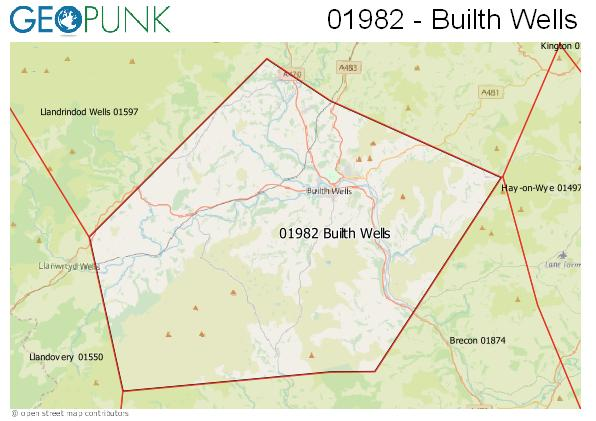 Map of the Builth Wells area code
