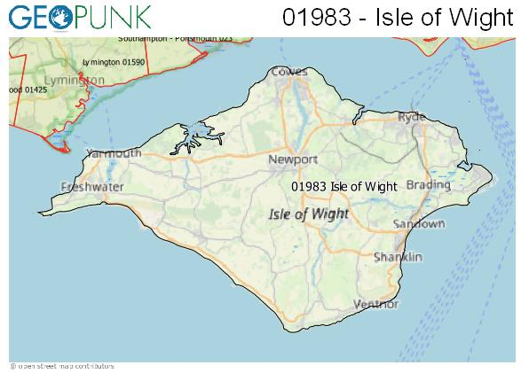 Map of the Isle of Wight area code