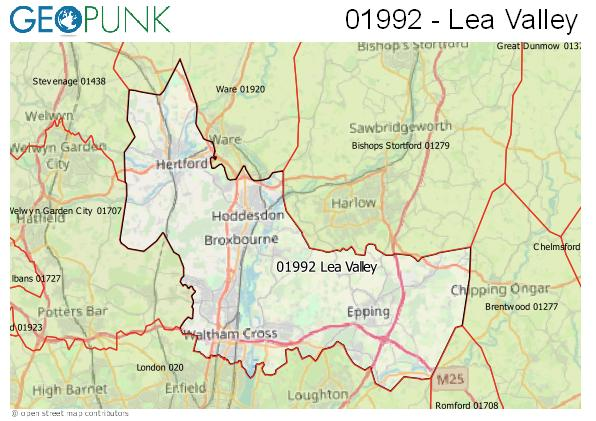 Map of the Lea Valley area code