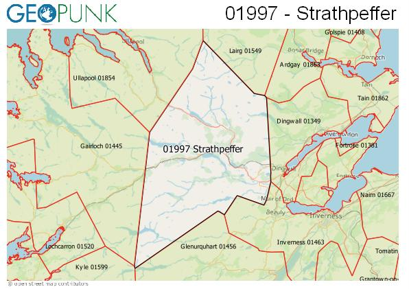 Map of the Strathpeffer area code