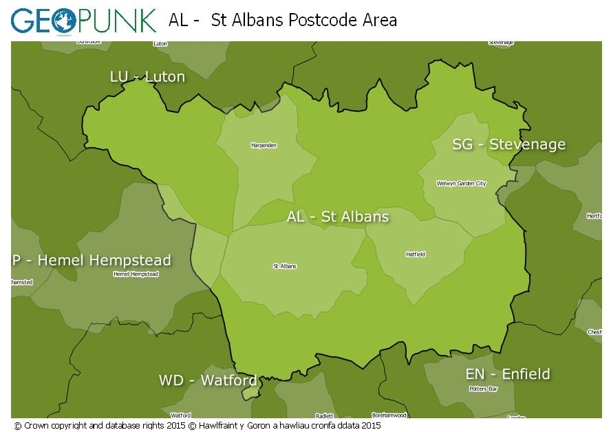 map of the AL  St Albans postcode area