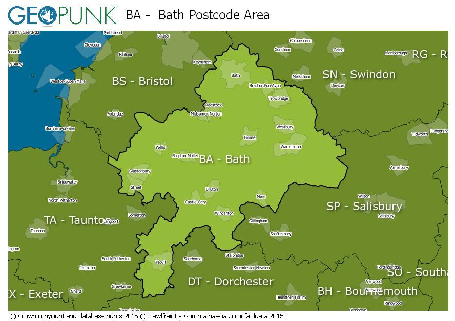 map of the BA  Bath postcode area
