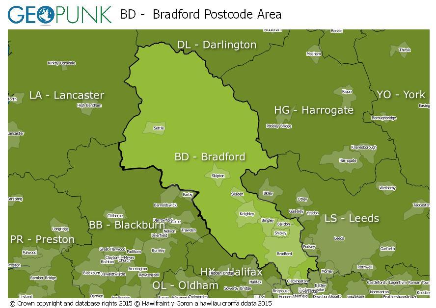 map of the BD  Bradford postcode area