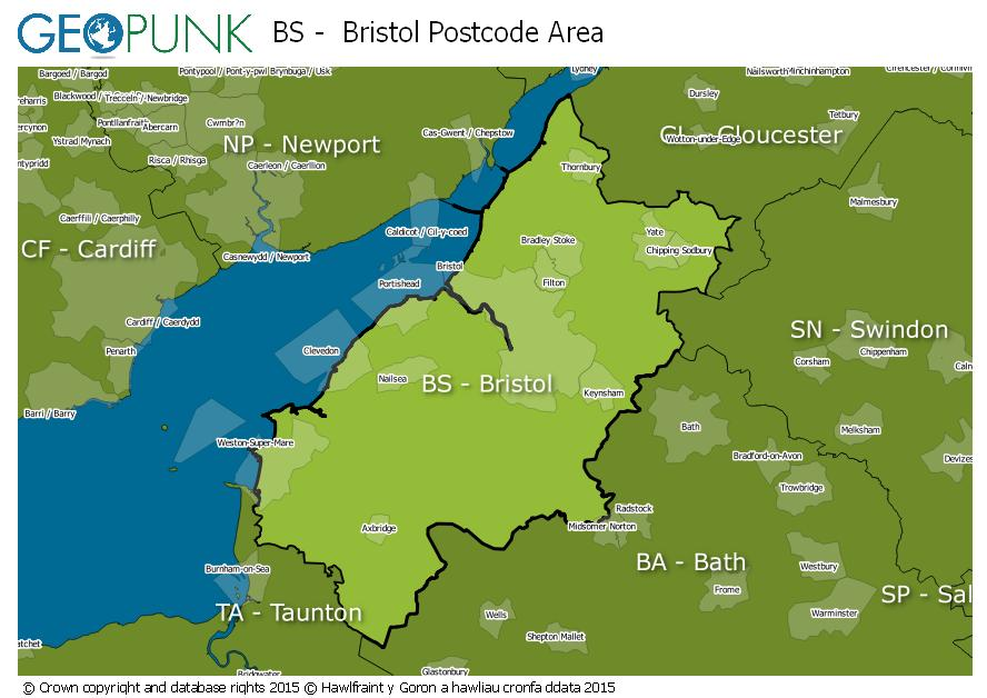 map of the BS  Bristol postcode area