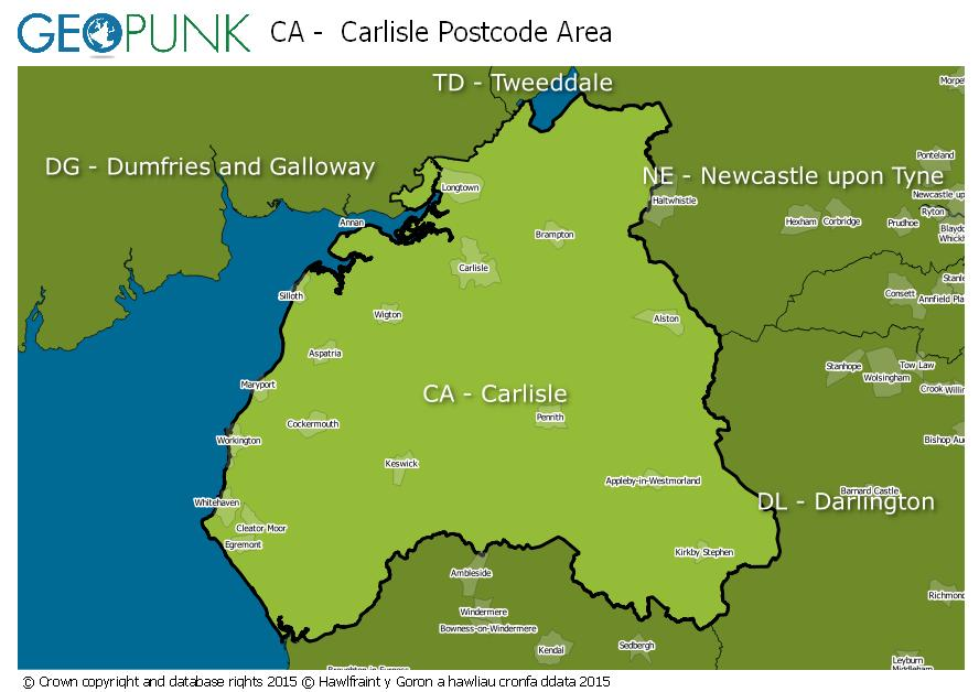 map of the CA  Carlisle postcode area