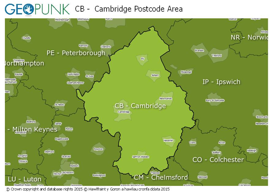 map of the CB  Cambridge postcode area