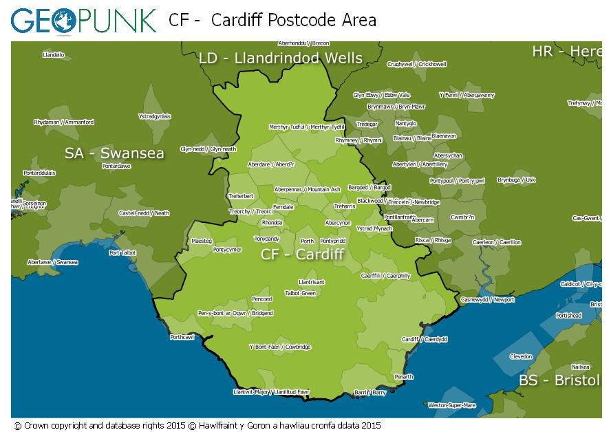 map of the CF  Cardiff postcode area
