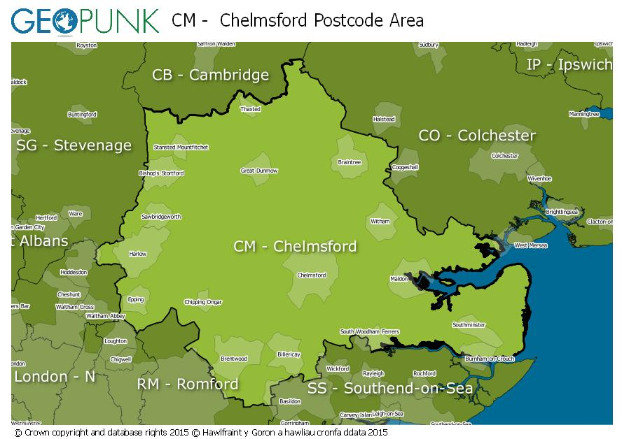 map of the CM  Chelmsford postcode area