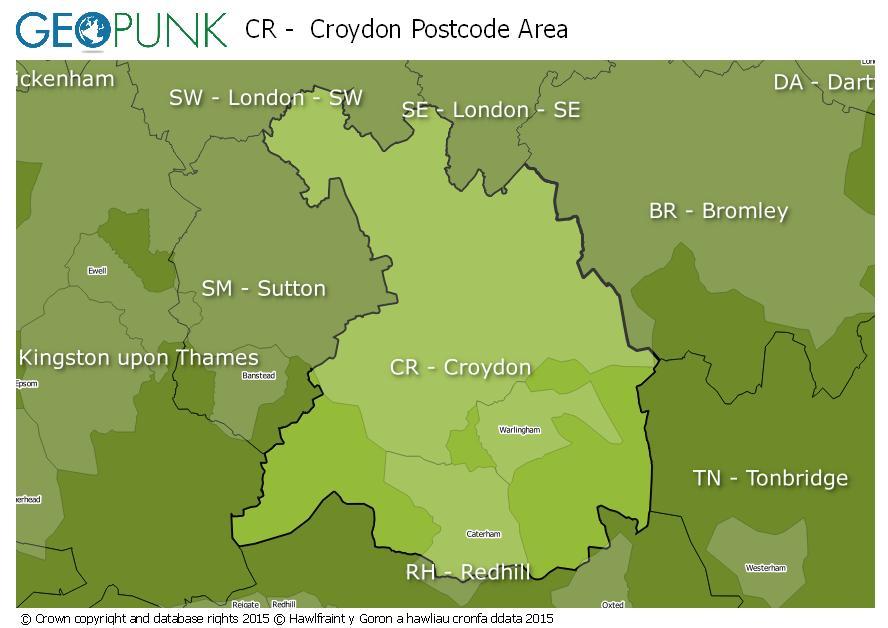 map of the CR  Croydon postcode area