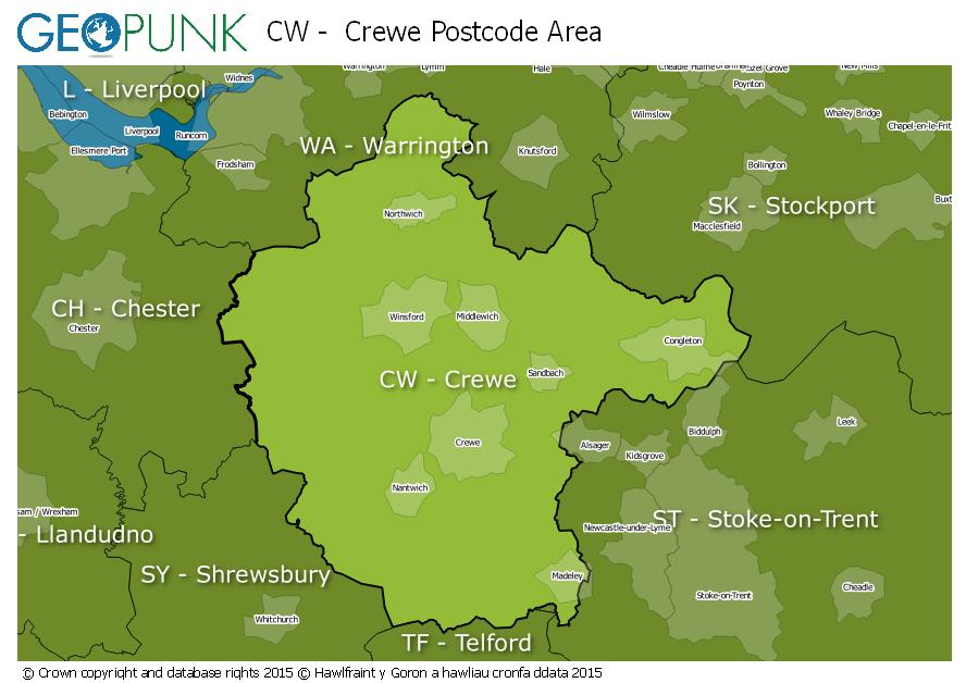 map of the CW  Crewe postcode area