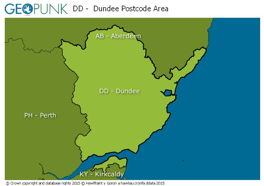 map of the DD  Dundee postcode area